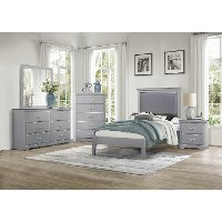 Contemporary Gray 4 Piece Twin Bedroom Set - Seabright