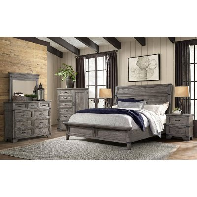 Pewter Gray 4 Piece Queen Bedroom Set Forge Rc Willey Furniture Store