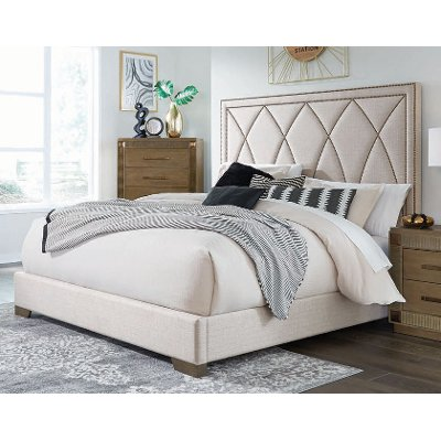 Contemporary Cream Queen Upholstered Bed - Park Avenue