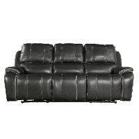Cyclone Dark Gray Leather-Match Power Reclining Sofa - Potter