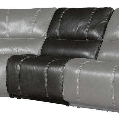 Cyclone Dark Gray Leather-Match Armless Power Recliner with Power Headrest and Lumbar - Potter