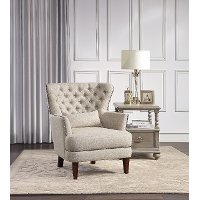 Traditional Beige Accent Chair with Kidney Pillow - Marriana