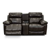 Chocolate Brown Leather-Match Power Reclining Console Loveseat - integrity