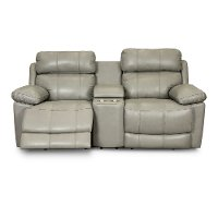 Slate Gray Leather-Match Power Reclining Console Loveseat - integrity