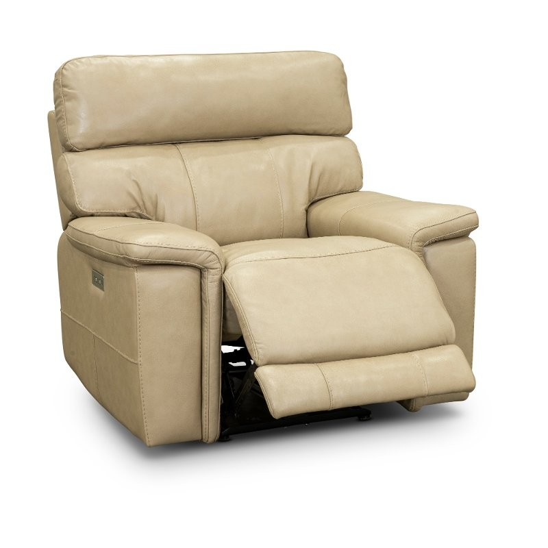 Putty Leather Match Recliner