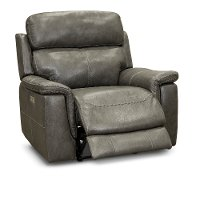 Graphite Gray Leather-Match Power Recliner - Integrity