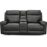 Space Gray Leather-Match Power Reclining Console Loveseat - Solana