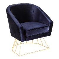 CH-CNRY-AU+BU Royal Blue Velvet Contemporary Tub Chair - Canary