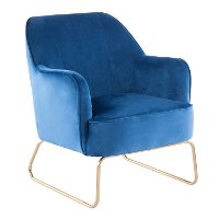 CHR-DANIELLASL-AUBU Blue Velvet Contemporary Accent Chair - Campania