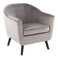 CHR-RCKWLV-SV Silver Velvet Contemporary Accent Chair - Rockwell