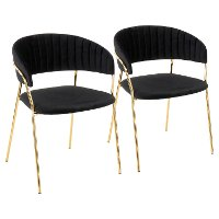 CH-TANIA-AU+BK2 Black Velvet and Gold Glam Chairs (Set of 2) - Tania