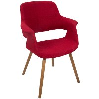 CHR-JY-VFL-R Red Mid Century Modern Accent Chair - Vintage Flair