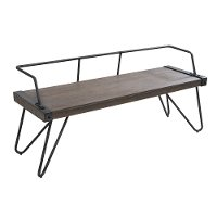 DC-STFBEN-WL+AN Industrial Metal and Walnut Wood Bench - Stefani