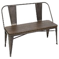 DC-TW-OR-BENCH Antique and Espresso Farmhouse Bench - Oregon