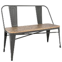 BC-OR-GY+BN Gray and Brown Farmhouse Bench - Oregon