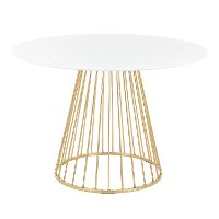 DT-CANARY2-AUW Contemporary White and Gold Round Dining Room Table - Canary