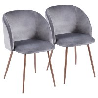 CH-FRAN-WL+GY2 Contemporary Gray Velvet and Walnut Dining Room Chair (Set of 2) - Luna