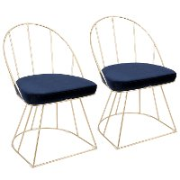 DC-CNRY-AU+BU2 Contemporary Blue Velvet and Gold Accent Chair (Set of 2) - Canary