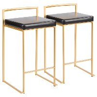 B26-FUJI-AU+BKS Modern Black and Gold Counter Height Stool - Fuji
