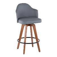 B26-AHOY-WL+GY Mid Century Walnut and Gray 26 Inch Swivel Counter Height Stool - Ahoy