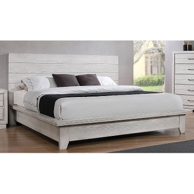 Contemporary White Queen Platform Bed - White Sands
