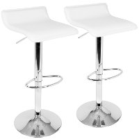 BS-ALE-W2 Contemporary White and Chrome Adjustable Bar Stool (Set of 2) - Ale