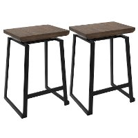 CS-GEO-BK+BN2 Industrial Brown and Black Counter Height Stools (Set of 2) - Geo