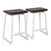 CS-GEO-VW+E2 Industrial Brown and White Counter Height Stools (Set of 2) - Geo