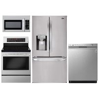 KIT LG 4 Piece Electric Kitchen Appliance Package with 27.9 cu. ft. French Door Refrigerator - Stainless Steel