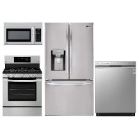KIT LG 4 Piece Gas Kitchen Appliance Package with 27.9 cu. ft. French Door Refrigerator - Stainless Steel