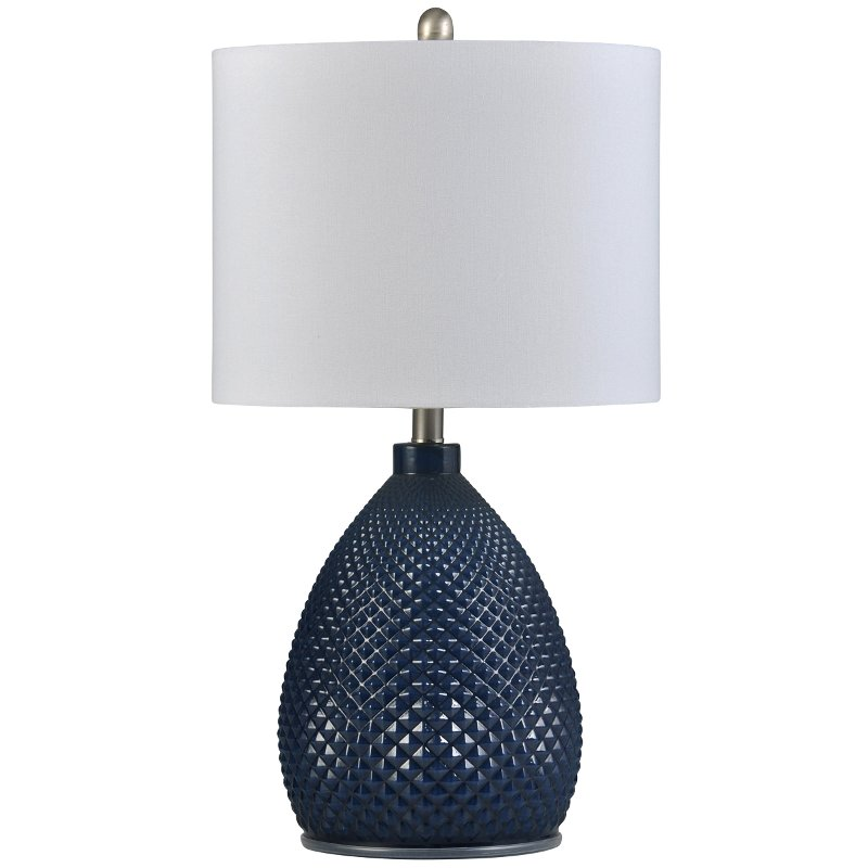 26 Inch Navy Blue Gl Table Lamp