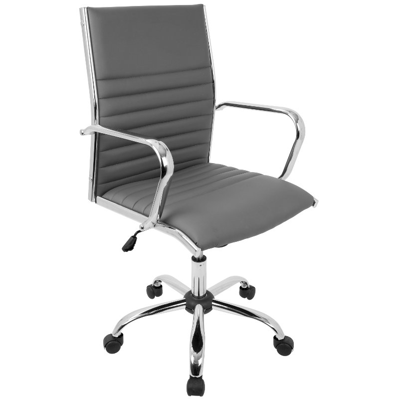 Grey Faux Leather Contemporary Swivel Office Chair Master Rc Willey Furniture Store