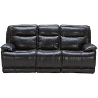 Blackberry Leather-Match Power Triple Reclining Sofa - Triple-Play