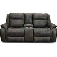 Slate Gray Standard Double Power Reclining Loveseat with Console - Essex