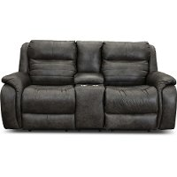 Slate Gray SoCozi Leather-Match Power Reclining Loveseat with Console - Essex