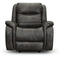 Slate Gray SoCozi Leather-Match Power Recliner with Adjustable Headrest - Essex