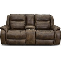 Chaps Brown Standard Double Power Reclining Loveseat with Console - Essex