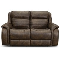 Chaps Brown Standard Double Power Reclining Loveseat - Essex