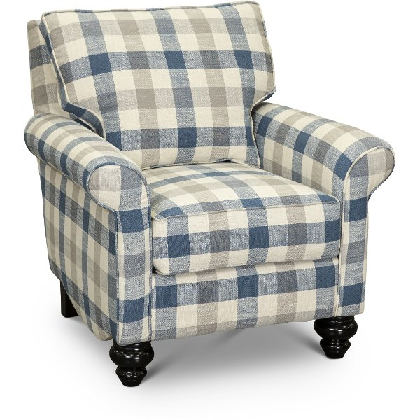 Enjoyable Blue And Taupe Plaid Nautical Accent Chair Blake Rc Gmtry Best Dining Table And Chair Ideas Images Gmtryco