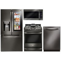 KIT LG 4 Piece Gas Kitchen Appliance Package with Smart Refrigerator - Black Stainless Steel