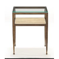 Antique Gold Glass Top Chairside Table - Venice