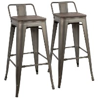 BS-LBOR-AN+E2B Industrial Gray Metal 30 Inch Bar Stool (Set of 2) - Oregon