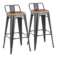 BS-LBOR-BK2 Industrial Black Metal 30 Inch Bar Stool (Set of 2) - Oregon