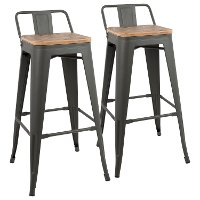 BS-LBOR-GY+BN2B Industrial Gray and Brown Metal 30 Inch Bar Stool (Set of 2) - Oregon