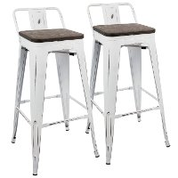 BS-LBOR-VW-E2B Industrial Vintage White and Brown Metal 30 Inch Bar Stool (Set of 2) - Oregon