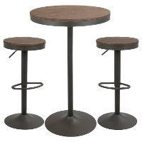 B-DAK3-GY+BN Industrial Farmhouse Brown and Gray Adjustable 3 Piece Dining Set - Dakota