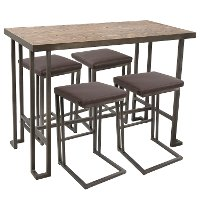 C-RMN5-AN+BN Industrial Antique Brown 5 Piece Counter Height Dining Set - Roman