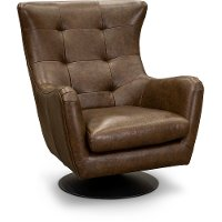 Modern Teak Brown Leather Swivel Chair - Collective