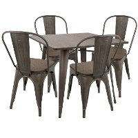 DS-OR5-AN+E Industrial Antique Espresso 5 Piece Dining Set - Oregon