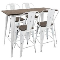 C-ORHB5-VW+E Industrial White and Brown 5 Piece Counter Height Dining Set with High Back Stools - Oregon